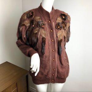 Vintage Angora Fur Jacket Brown with Pearls
